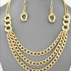 Polished Chain Layered Necklace Set